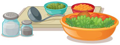 Bowls of vegetables and seasonings. Illustration Royalty Free Stock Photos