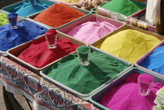 Bowls of vibrant colored dyes  for Diwali festival Royalty Free Stock Photos