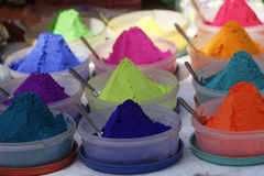 Bowls of vibrant colored dyes  for Diwali festival. Bowls of vibrant colored dyes and Rangoli mixed with colors for sale on road side shops in Mumbai India, for Royalty Free Stock Photo