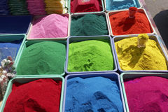 Bowls of vibrant colored dyes  for Diwali festival Royalty Free Stock Photography