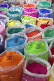 Bowls of vibrant colored dyes  for Diwali festival. Bowls of vibrant colored dyes and Rangoli mixed with colors for sale on road side shops in Mumbai India, for Royalty Free Stock Images