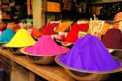 Bowls of vibrant colored dyes in India. Bowls of vibrant dyes, colors for Holi in India Royalty Free Stock Photos