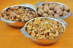 Bowls of walnuts Royalty Free Stock Photography