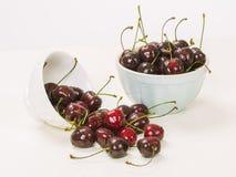 Bowls of wet cherries Stock Image