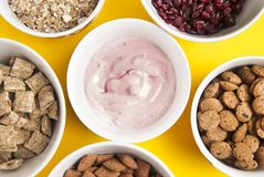 Bowls of whole grain muesli, dried fruits, granola and oatmeals arranged in circle. Isolated on yellow background. Top view. stock photos