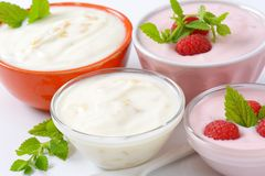 Bowls of yogurt Stock Photo