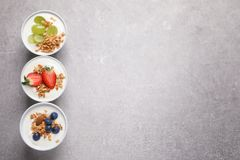 Bowls with yogurt, granola and different fruits. On gray background, top view stock image