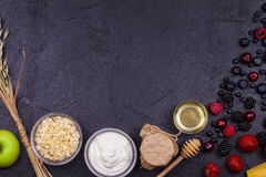 Bowls of Yogurt and Oat Flakes, Fresh Apples, Honey and Summer Berries Stock Images