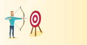 Bowman aiming with a bow and arrow at the target. Royalty Free Stock Photography