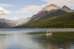 Bowman Lake Canoers Stock Photo