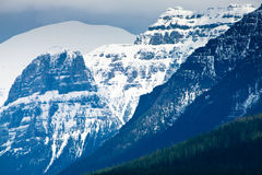Bowman Lake, Glacier National Park. Beautiful mountain lake in Montana nestled below snowy mountains Stock Image