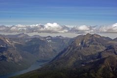 Bowman Lake in Glacier Park. Aerial view of Bowman Lake in Glacier National Park Royalty Free Stock Image