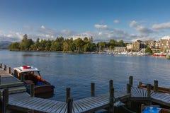 Bowness在温德米尔港口视图,湖区在Cumbria,英国 库存照片