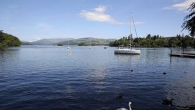 Bowness Windermere Lake District England uk with a sailing boat at this popular tourist location stock video