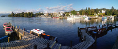 Bowness-on-Windermere panoramic harbor view in afternoon light, Stock Image