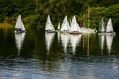 Bowness-on-Windermere, United Kingdom - Sept. 18, 2011: Sailboats on the Windermere royalty free stock images
