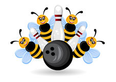 Bownling bumble bees Royalty Free Stock Images