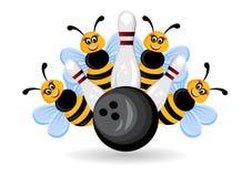 Bownling bumble bees. Cartoon bowling bumble bees ilustration theme stock illustration