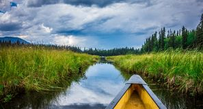 Bowron Lakes View from canoe Stock Photo