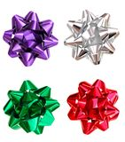 Bows. Festive bows in wrapping holiday day Stock Photos