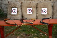Bows and arrows Stock Photography