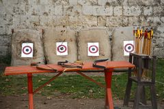 Bows and arrows Royalty Free Stock Images