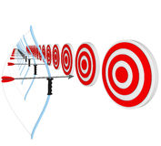 Bows and Arrows Pointing at Bulls-Eyes Stock Image
