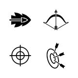 Bows and arrows. Simple Related Vector Icons Royalty Free Stock Images
