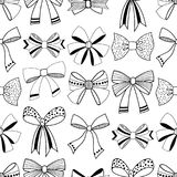 Bows. Black and white illustration, seamless pattern for coloring pages. Decorative and festive background. Royalty Free Stock Photo
