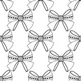 Bows. Black and white illustration, seamless pattern for coloring pages. Decorative and festive background. Royalty Free Stock Images