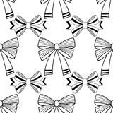 Bows. Black and white illustration, seamless pattern for coloring pages. Decorative and festive background. Vector Stock Images