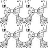 Bows. Black and white illustration, seamless pattern for coloring pages. Decorative and festive background. Vector Stock Photography
