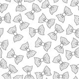 Bows. Black and white illustration, seamless pattern for coloring pages. Decorative and festive background. Stock Image