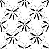 Bows. Black and white illustration, seamless pattern for coloring pages. Decorative and festive background. Stock Photo