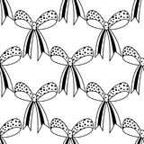 Bows. Black and white illustration, seamless pattern for coloring pages. Decorative and festive background. Royalty Free Stock Image