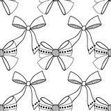 Bows. Black and white illustration, seamless pattern for coloring pages. Decorative and festive background. Vector Royalty Free Stock Photos