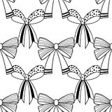 Bows. Black and white illustration, seamless pattern for coloring pages. Decorative and festive background. Vector Royalty Free Stock Images