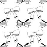 Bows. Black and white illustration, seamless pattern for coloring pages. Decorative and festive background. Vector Royalty Free Stock Photography