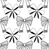 Bows. Black and white illustration, seamless pattern for coloring pages. Decorative and festive background. Vector Stock Photos