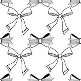 Bows. Black and white illustration, seamless pattern for coloring pages. Decorative and festive background. Vector Royalty Free Stock Photo