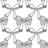 Bows. Black and white illustration, seamless pattern for coloring pages. Decorative and festive background. Vector Stock Image