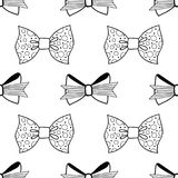 Bows. Black and white illustration, seamless pattern for coloring pages. Decorative and festive background. Vector Royalty Free Stock Image