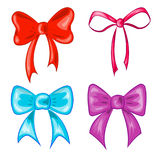 Bows. Colored vector festive bows, red,violet, blue, pink Royalty Free Stock Photography