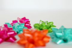bright and colorful bows for birthday gifts and presents Royalty Free Stock Image