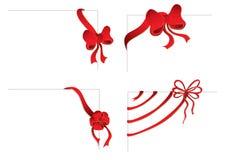bows corners red fyra Royaltyfria Bilder