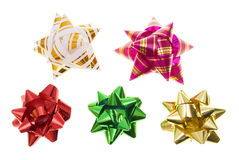 Bows decor. Various bows is decoration for presents - isolated on white stock image
