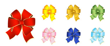 Bows for the decoration of gifts Stock Photo