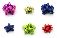 Bows in different color. Isolated white Stock Photos