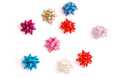 Bows of different colours. Bows of different shining colours royalty free stock photos