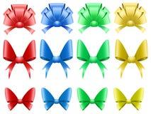 bows färgade den set vektorn för garneringen Arkivfoto